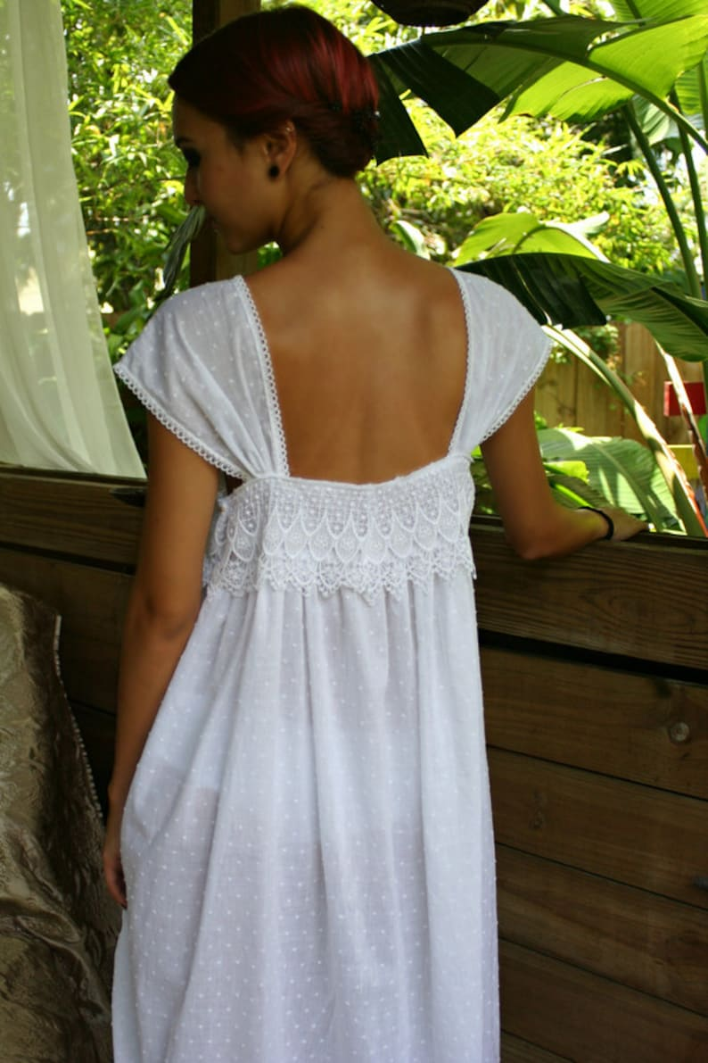 Vintage Lingerie | New Underwear, Bras, Slips Limited Edition White Cotton Nightgown Dotted Swiss Cotton Batiste Peacock Lace Caplet Sleeve Cotton Lingerie Cotton Sleepwear $140.00 AT vintagedancer.com