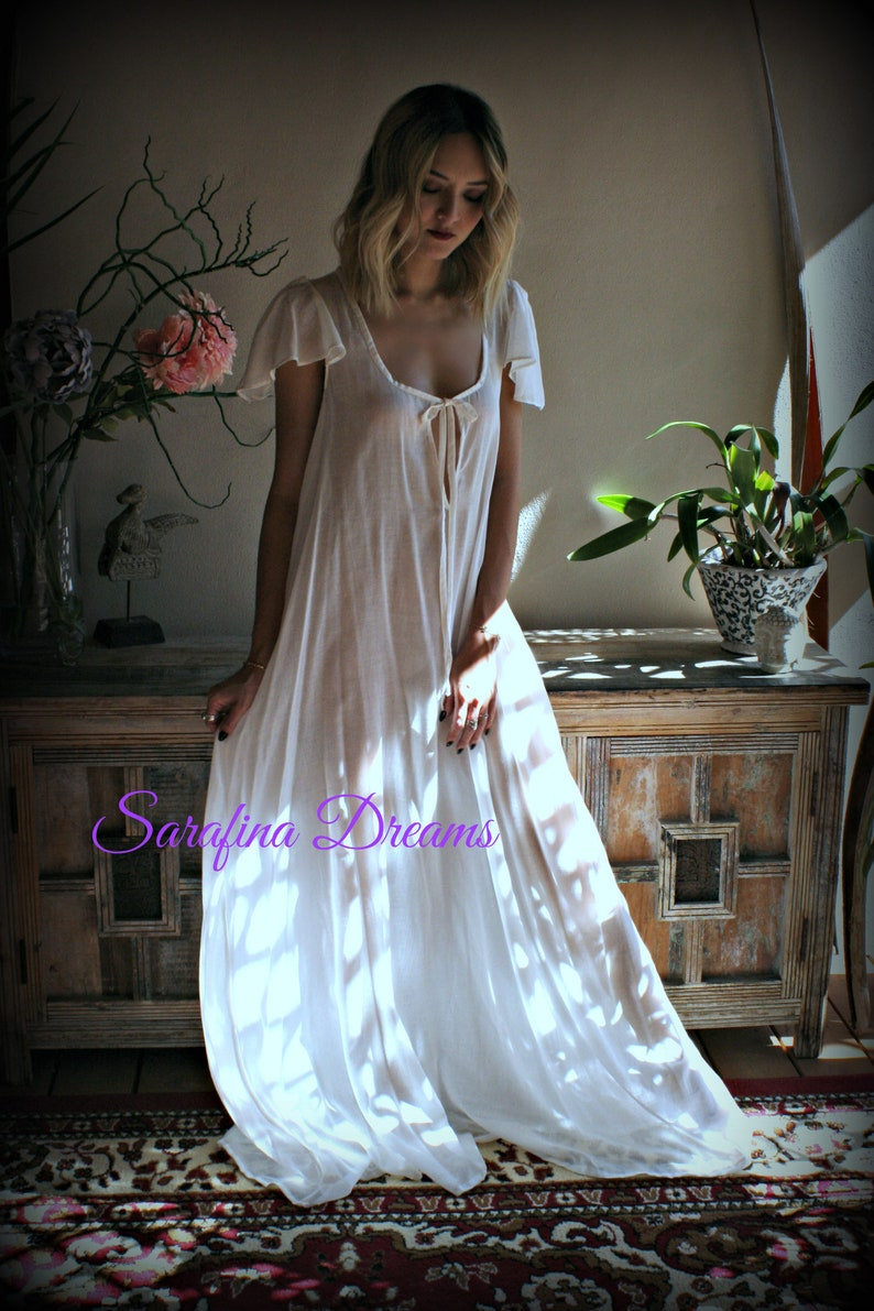 Vintage Nightgowns, Pajamas, Baby Dolls, Robes 100% Cotton Nightgown Flutter Sleeve Tie Open Bodice Lingerie Sleepwear White Nightgown Cotton Lingerie Honeymoon Cotton Sleepwear $140.00 AT vintagedancer.com