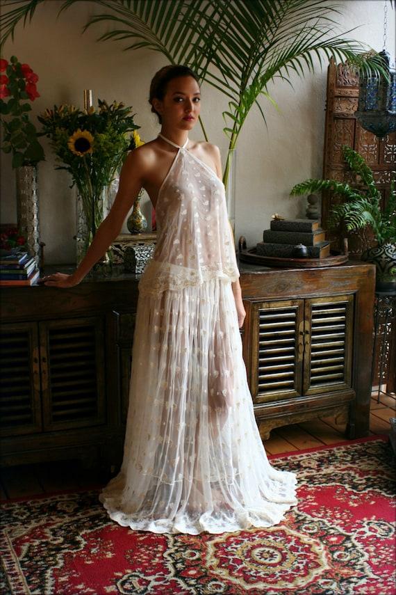 Bridal Embroidered Halter Top And Skirt Set Beach Wedding Lingerie Lace Sleepwear Honeymoon Sleepwear Bridal Lingerie