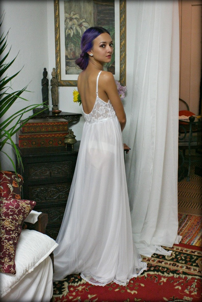 aff5824f638 White Lace and Nylon Nightgown Camille Innocence Nightgown