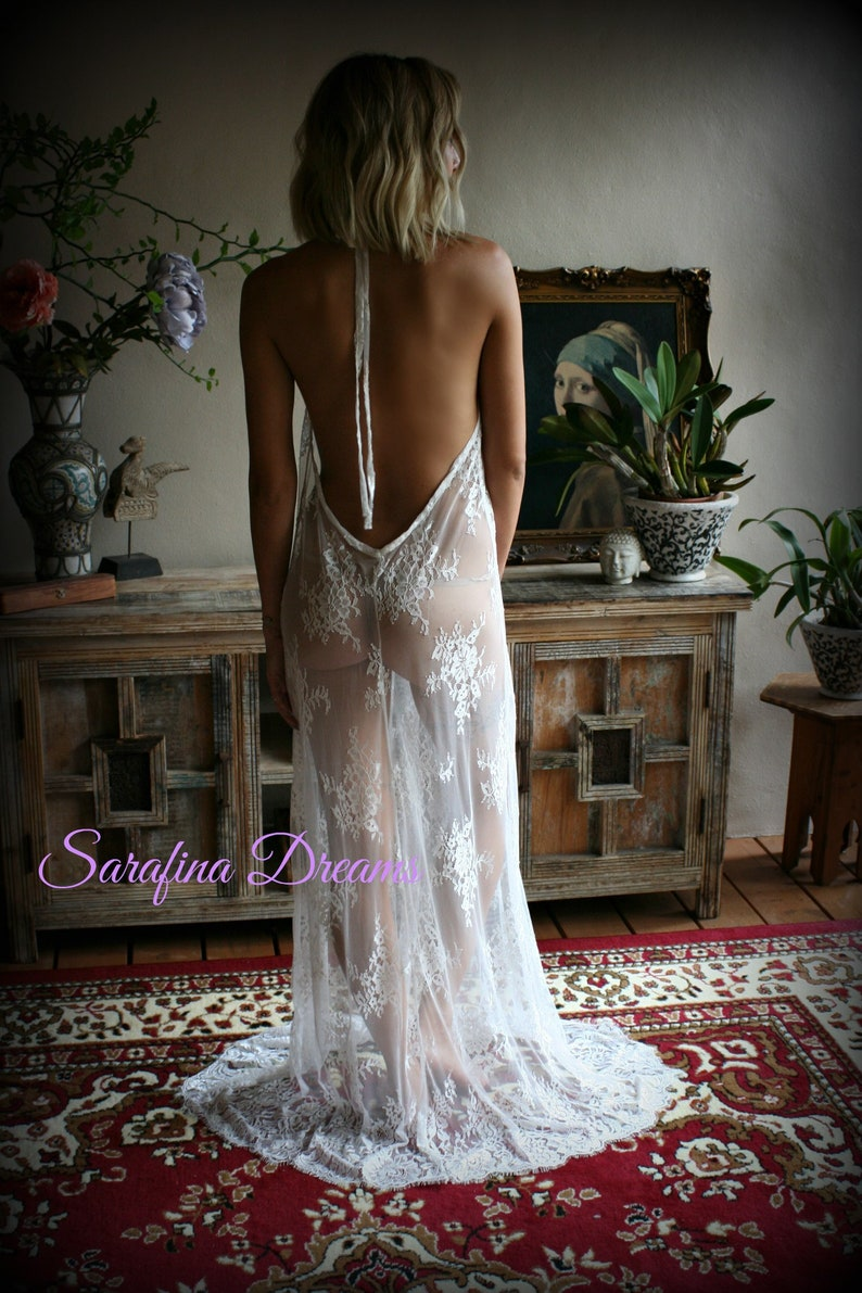 Bridal Lace Backless Nightgown Wedding Lingerie