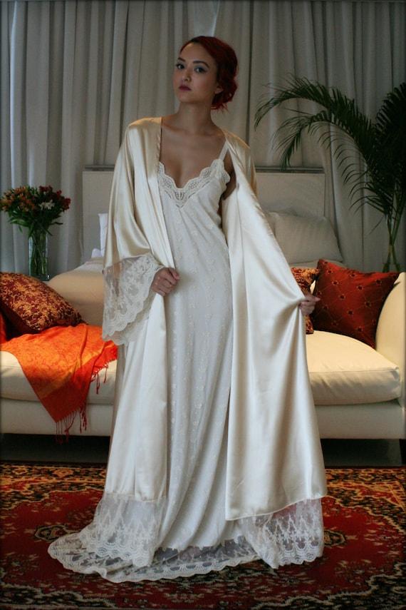 Fiona Champagne Satin Bridal Wedding Robe Bridal Lingerie Wedding Sleepwear Embroidered French Lace Robe Art Deco Luxury Lingerie