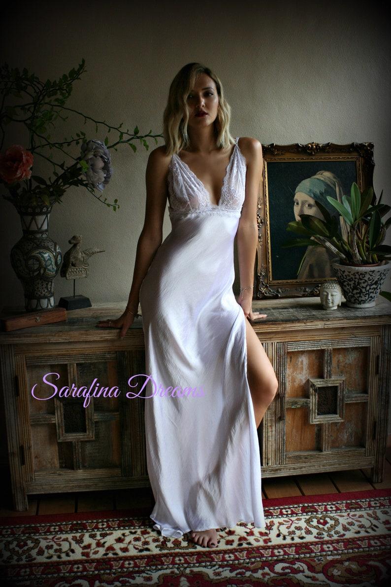 6b7a696b33a Bridal Satin and Lace Nightgown Wedding sleepwear Bridal