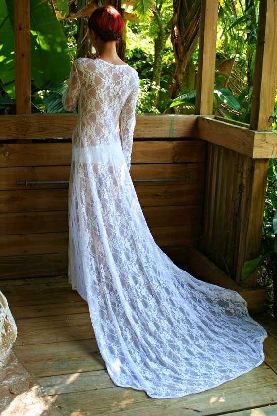 35071651339 White Lace Bridal Nightgown With Train Wedding Lingerie Bridal