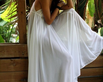 Grecian Goddess Bridal Nightgown Wedding Lingerie White Nylon Angelic Honeymoon Gown Romantic Sleepwear