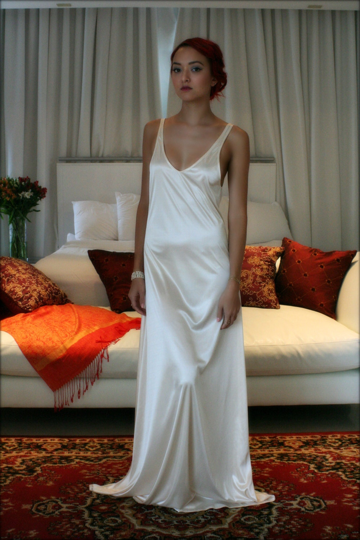 Bridal Nightgown Satin Slip Dress Liner Bridal Slip Wedding Etsy