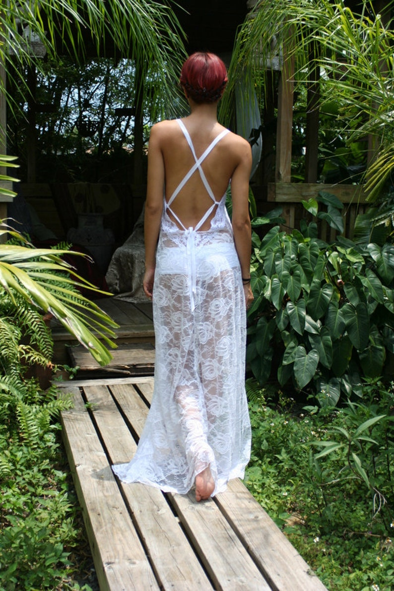 79007a2b1 White Lace Backless Nightgown Bridal Lingerie Wedding