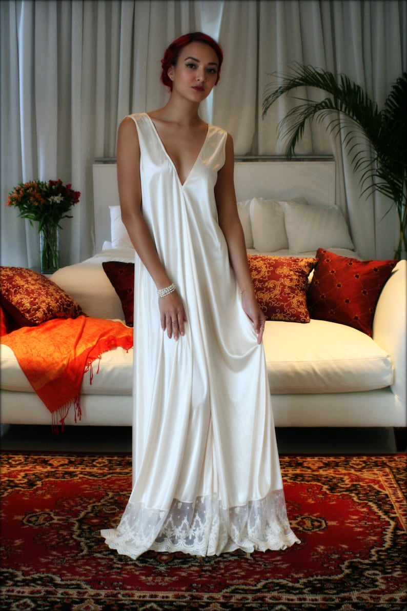 544d9f6934 Bridal Nightgown Satin Wedding Lingerie Champagne French Lace
