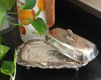 Vintage F.B.  Rogers 1959 Silver Plate Covered Butter Dish with Removable Glass Insert/Shabby Chic Vintage Silver Plate Butter Dish
