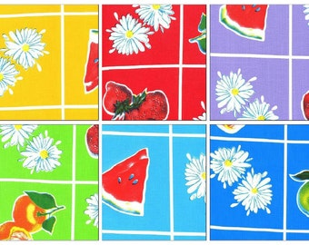 Oilcloth By TheY ard Fruit and Daisy   Your choice of Color