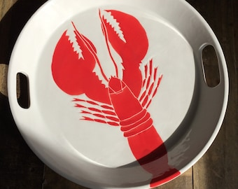 Lobster ceramic handled serving tray.14""