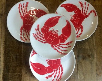 Dinnerware set of 4 nautical red crab serving plates dinner desert salad dishes & Nautical dinnerware | Etsy