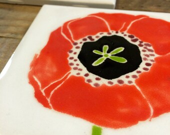 Ceramic tiles, coaster, red poppies, flowers. Set of 2