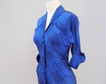 Wiggle Dress 40s 50s Dress Cobalt Blue Abstract Scribble Print Atomic Dress S