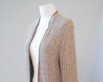 Vintage Sweater 70s Nubby Open Front Greige Cardigan Oversized Boucle Ribbed Sweater Jumper Cardi M