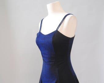 Vintage Dress 90s Iridescent Cobalt Dress Chiffon Dolly Dress Party Cocktail Dress S M