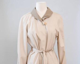 Vintage Coat 70s Trench Jacket Khaki Minimalist Coat Duo Tone Trench Coat Jacket M L