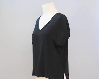 Vintage Blouse 80s Gitano Silky Black Minimalist V-Neck Boxy Blouse Top Shirt S