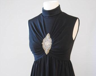 Vintage Dress 70s LBD Embellished Beaded Maxi Dress Ruched Sleeveless Dress Long Dress Black Dress S M