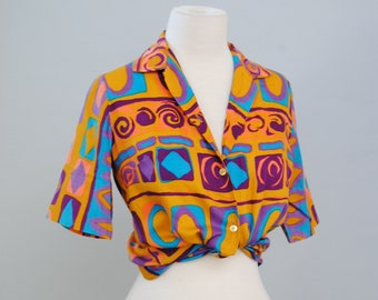 Tiki Blouse 60s Blouse Abstract Vintage Top Womens Button Up Shirt S M