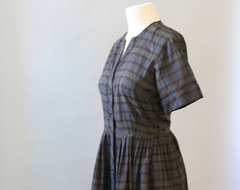 Vintage Day Dress 50 Haybrooke Classic Shirtwaist Dress Full Pleated Skirt Plaid Cotton Day Dress L