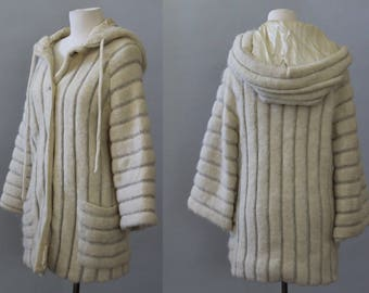 Vintage Sweater 70s Textured Wool Icelandic Wool Sweater Cream Hooded Sherpa Wool Jumper Cardigan M