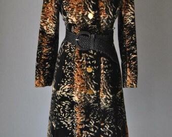 Vintage Trench Coat Aquanala Coat 60s RARE Saks Fifth Ave Velour Trench Coat Long Velveteen Velvet Animal Print Trench