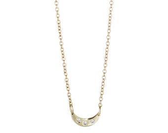 Half Moon Necklace with Diamonds