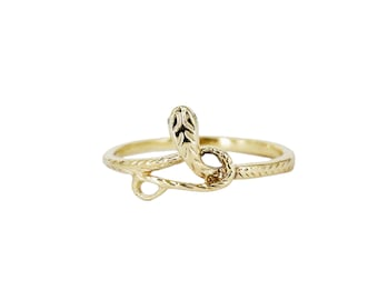 Recycled 14k Yellow Gold Serpent Ring with Diamond Eyes