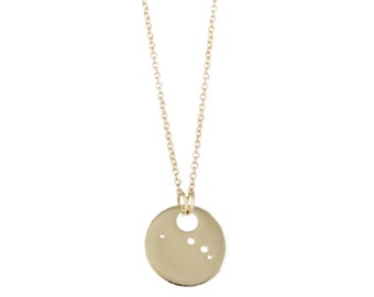 Aries Constellation Necklace, Sterling Silver or 14 Yellow Gold