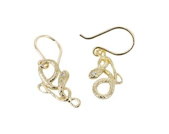 Asymmetrical Diamond Serpent Earrings