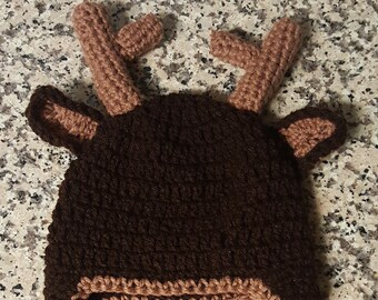 Deer Hat, Crochet Deer hat, Crochet hat with antlers, Child Deer hat, Baby Deer Hat, Newborn Deer hat