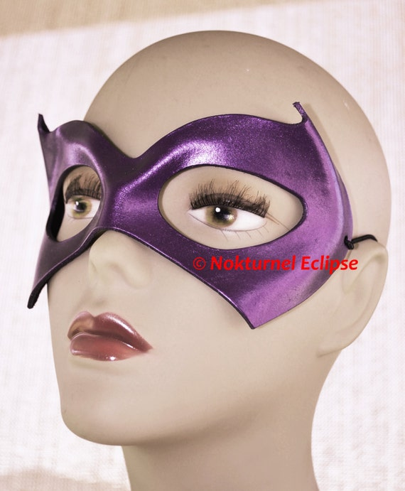 Batgirl Purple Leather Mask Gotham Superhero Harley Quinn