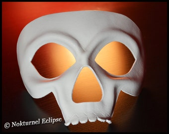 White Skull Leather Mask Skeletor HeMan Comic Con Cosplay Horror Masquerade Halloween Fetish Costume UNISEX  -  Available In Any Basic Color