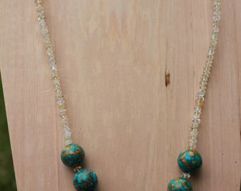 Mosaic Turquoise Citrine Necklace