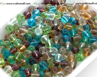 Glass beads 6mm round - assorted colours - set of over 600 beads - GR6mm