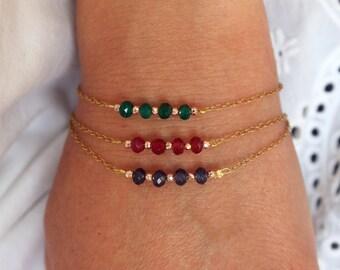 Delicate gemstone bar bracelet Gold chain bracelet for women Beaded chain link bracelet for her Agate stone bracelet femme Girlfriend gift