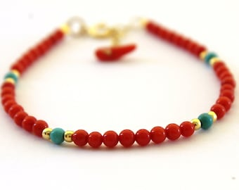 Red coral bracelet for women, Unique gift for wife, Red beaded women bracelet, Delicate jewelry for her, Boho chic coral bracelet
