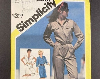 ON SALE Womens Jumpsuit Sewing Pattern 1980s I Aviator Costume I Vintage Simplicity Pattern 6031 I Uncut I Size 12
