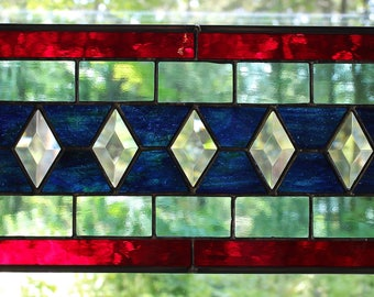 Classic Handcrafted Stained Glass Art with Prisms