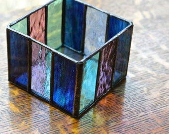 Multi Colored Stained Glass Box or Votive Holder with Coordinating Patchwork Stained Glass Flower
