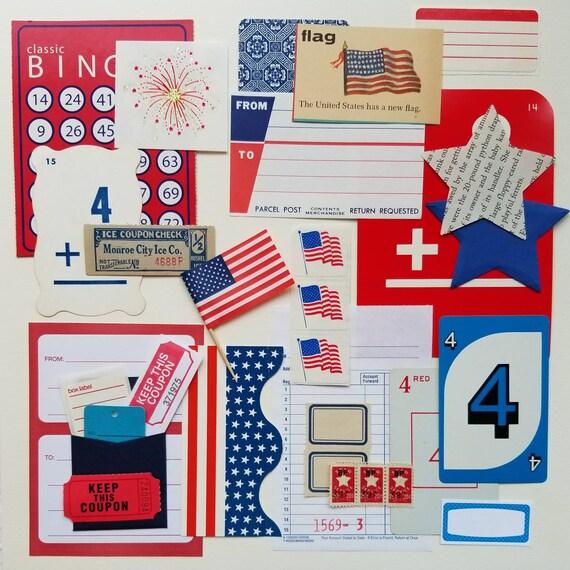 Independence Yay Vintage Ephemera Collection 25 Pcs Etsy