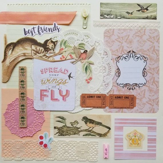 Mixed Scrap Pack Inspiration Collage Ephemera Paper Art ACEO ATC Vintage Retro