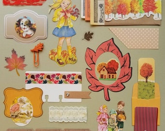 Autumn Leaves Vintage Ephemera Collection   25+ pcs   Mixed Media   Junk Journal   Scrap Pack   Inspiration Kit   Paper Arts & Crafts