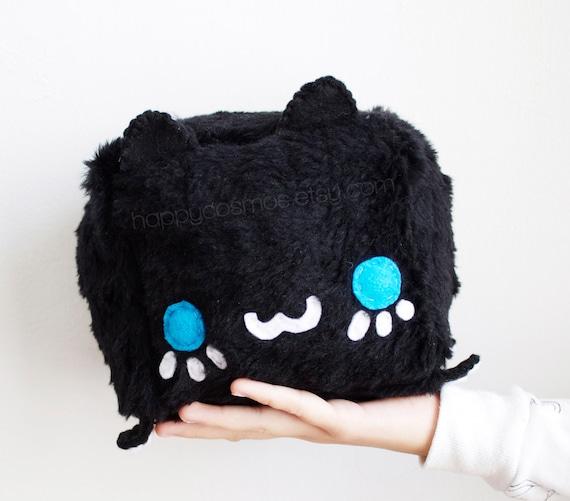 Black Cat Plush Kawaii Plushie Cute Stuffed Animal Etsy