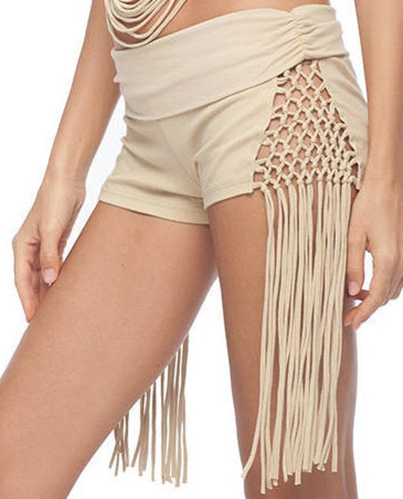 tassel shorts Festival Booty Shorts yoga macrame Shorts,Macrame Short Burning Man Fringe Shorts vacation Beach dance strings