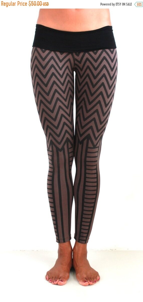 Steampunk Leggings, Tights, Stockings & Socks Legging Printed legging Chevron Legging Yoga Wear Yoga Gear Yoga Cloth Festival Burner Fashion Post-Apocalyptic Burni $40.00 AT vintagedancer.com