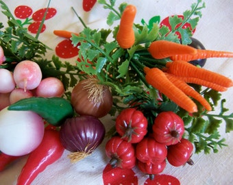 five little bunches of vegetables