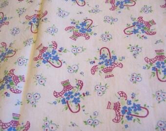 vintage flowers basket cotton fabric