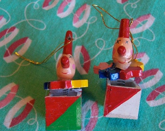 two little jack in the box ornaments